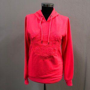 Kenzo Women Neon Pink Embroidery Sweatshirt Hoodie